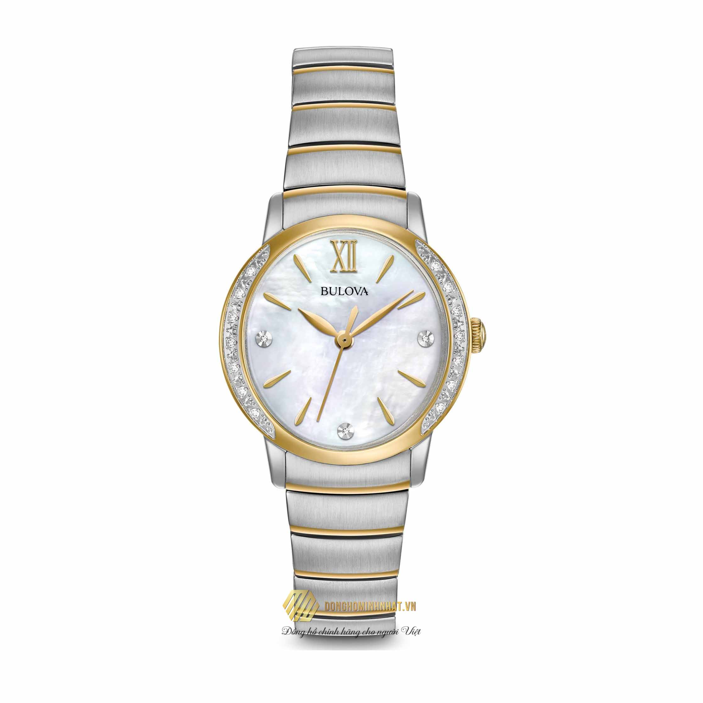ĐỒNG HỒ NỮ BULOVA 98R231 Diamonds Mother Of Pearl Dial Two Tone Watch 28mm Chính Hãng