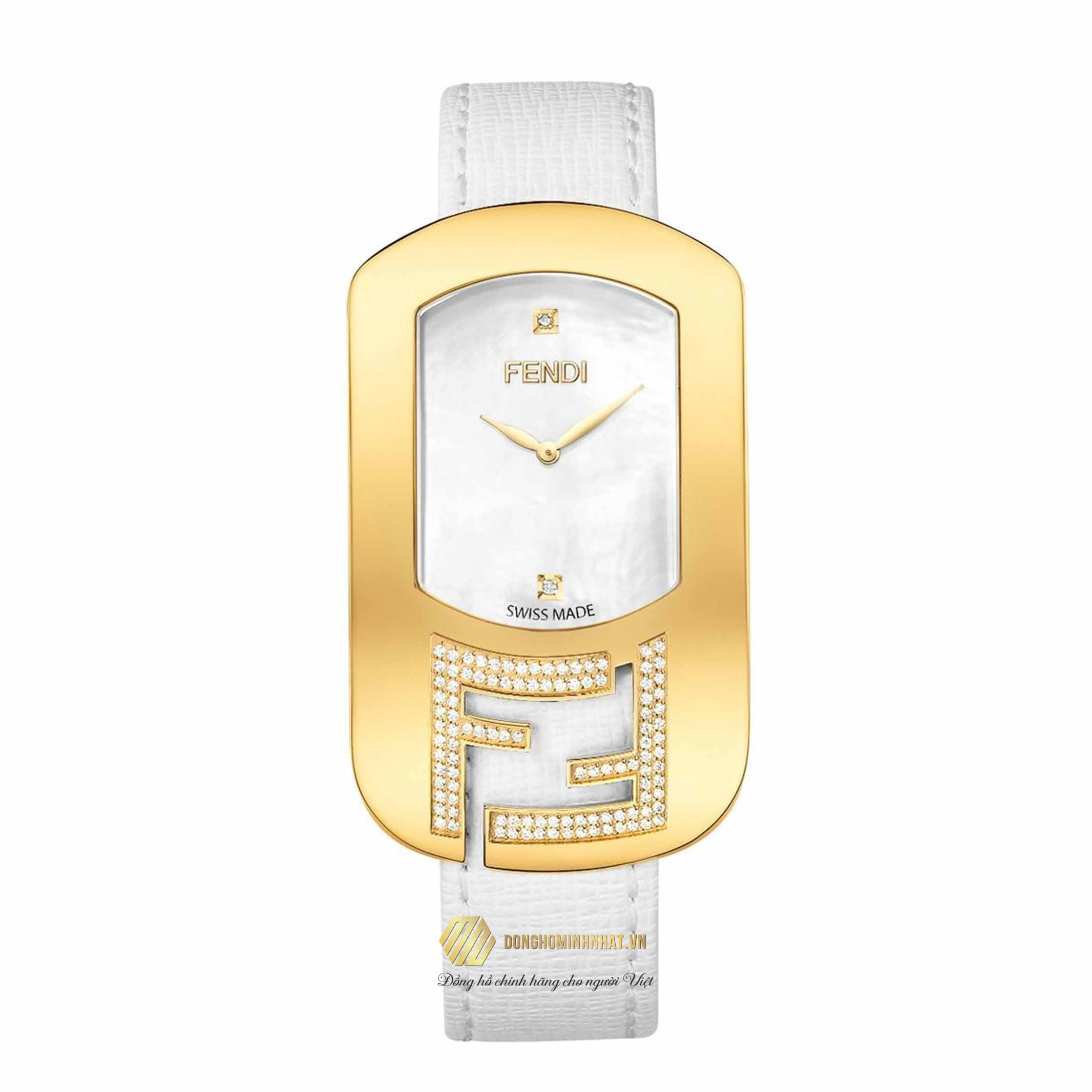 ĐỒNG HỒ Fendi Timepieces Women's Swiss Chameleon Diamond (1/4 ct. t.w.) White Leather Strap Watch 49x29mm F300434541C1