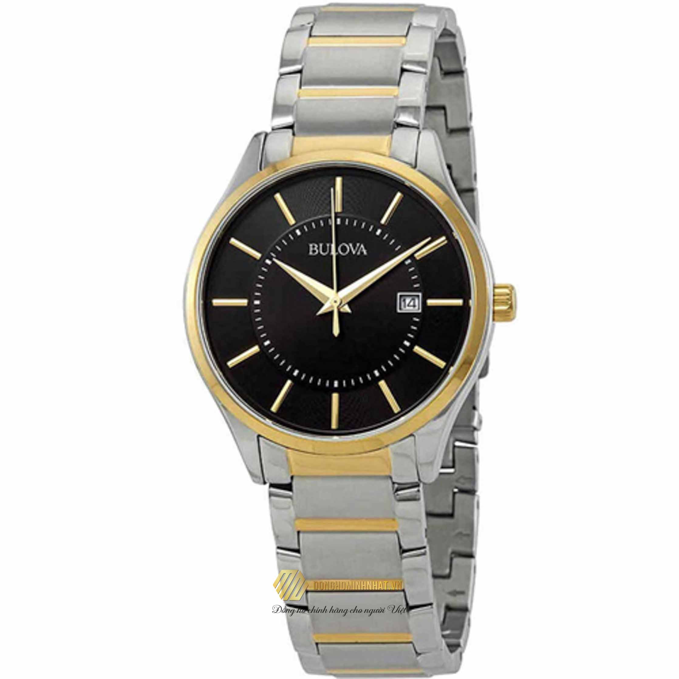 ĐỒNG HỒ BULOVA 98B290 Men's Two Tone Bracelet Black Face With Date
